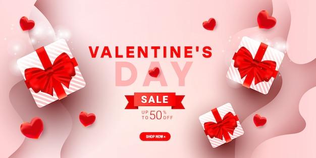 Het malplaatje van de de verkoopbanner van valentijnskaarten met de dozen van de verrassingsgift, 3d decor van de ballonelementen en lint op gradiënt Premium Vector