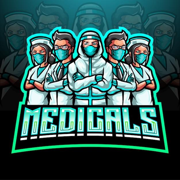 Het mascotte esport-logo van het medische team dat het coronavirus bestrijdt Premium Vector