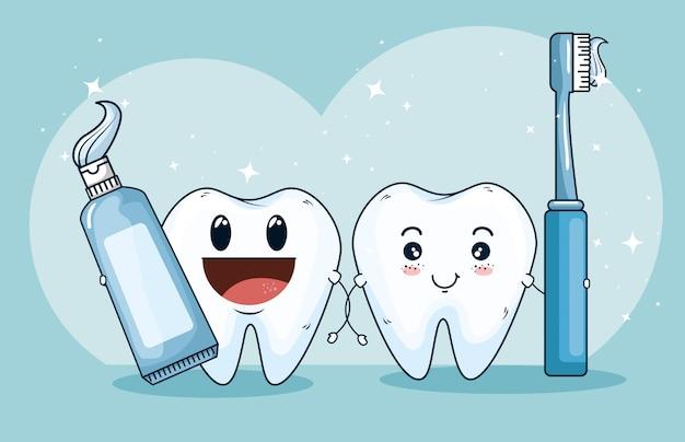 Het medicijn van de tandenbehandeling met tandpasta en tandenborstel Gratis Vector