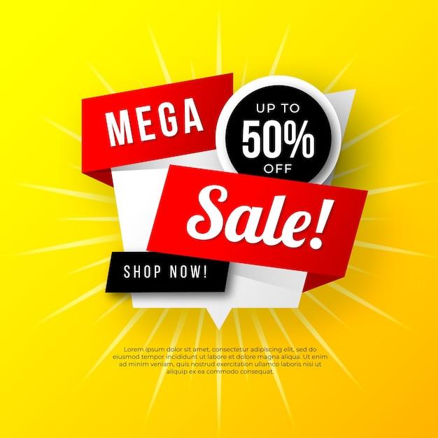 Het mega ontwerp van de verkoopbanner met gele achtergrond Gratis Vector