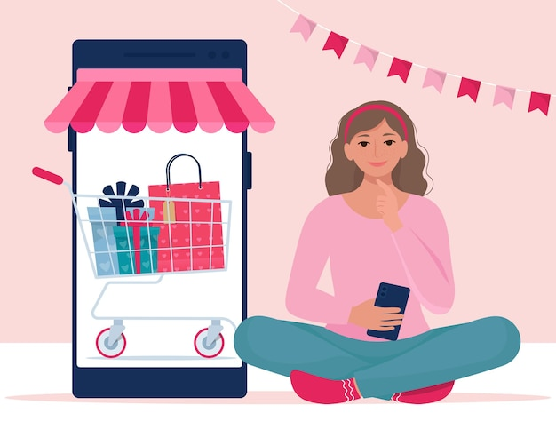 Het meisje doet aankopen via smartphone. valentines sale, online shopping concept. illustratie in vlakke stijl Premium Vector