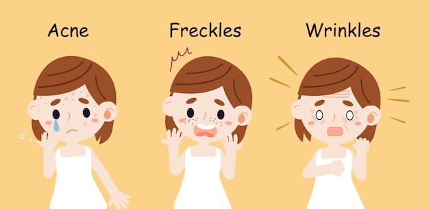 Het meisje heeft huidproblemen met acne, sproeten en rimpels Premium Vector