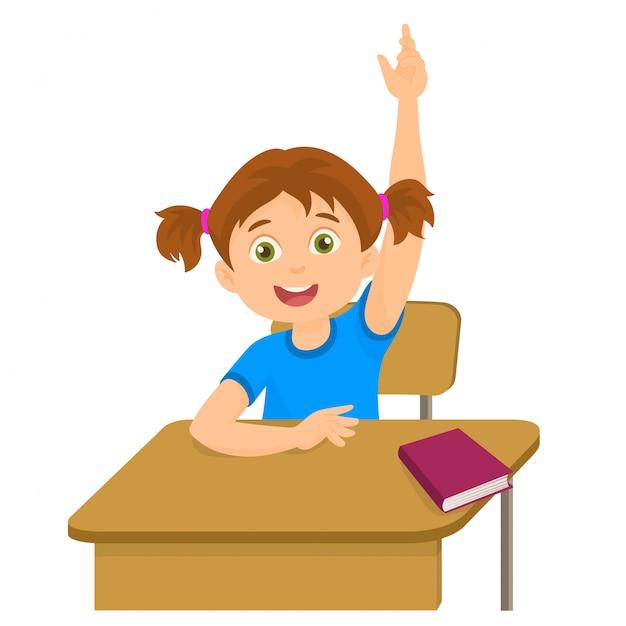 Het meisje het opheffen dient het klaslokaal voor een antwoord in Premium Vector