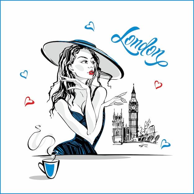 Het meisje in de hoed die koffie drinkt Premium Vector