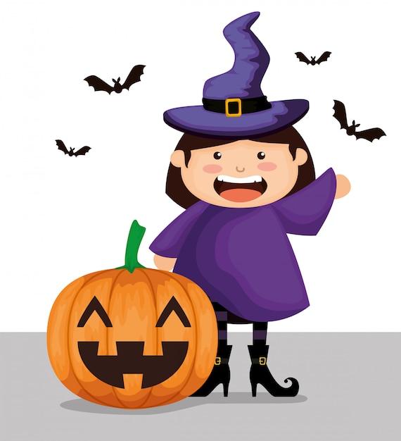 Het meisje kleedde zich omhoog als heks op halloween Gratis Vector