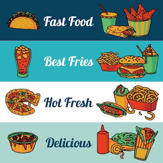 Het menu van het snel voedselrestaurant met pizza en hete trommelstokken vlakke horizontale banners geplaatst samenvatting geïsoleerde vectorillustratie Gratis Vector