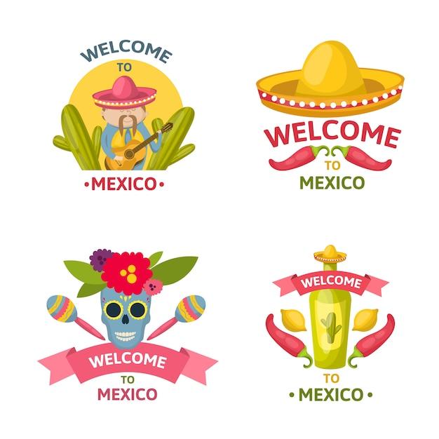 Het mexicaanse welkome embleem plaatste met onthaal aan de geïsoleerde beschrijvingen van mexico en kleurde vectorillustratie Gratis Vector