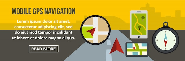 Het mobiele gps horizontale concept van de navigatiebanner Premium Vector