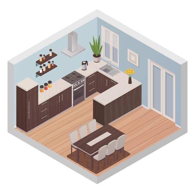 Het moderne concept van het keuken binnenlandse isometrische ontwerp met het koken van streek en het dineren streek voor zes personen f Gratis Vector