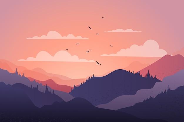 Het mooie landschap van de bergketting bij zonsondergang met vogels Gratis Vector