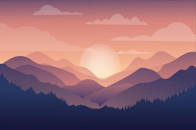 Het mooie landschap van de bergketting bij zonsondergang Gratis Vector
