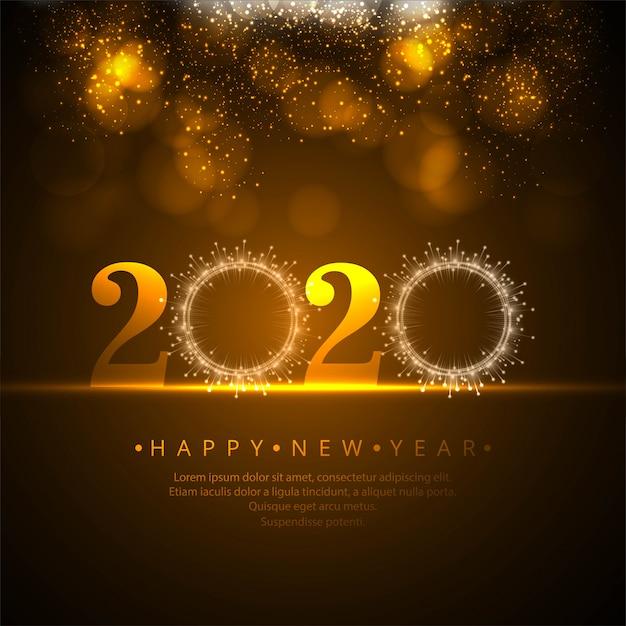 Het mooie nieuwe jaar van 2020 schittert vieringsvector Gratis Vector