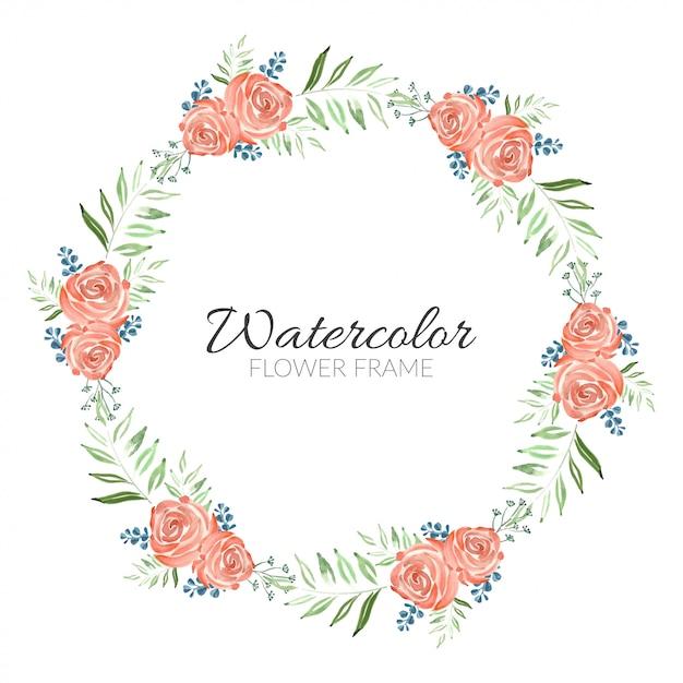Het mooie waterverf schilderen het frame van de roze bloemcirkel Premium Vector