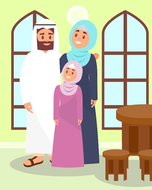 Het moslimfamilie stellen in traditioneel huis in arabische stijlillustratie Premium Vector