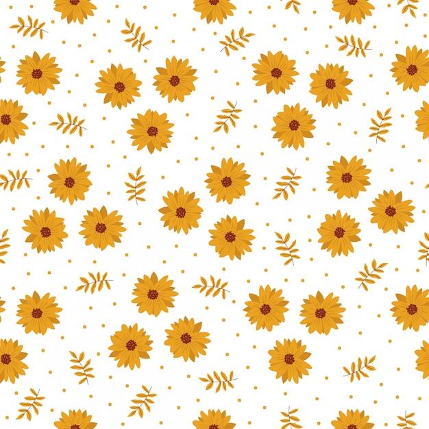 Het naadloze beeldverhaal van de patroontegel met gele bloem Premium Vector