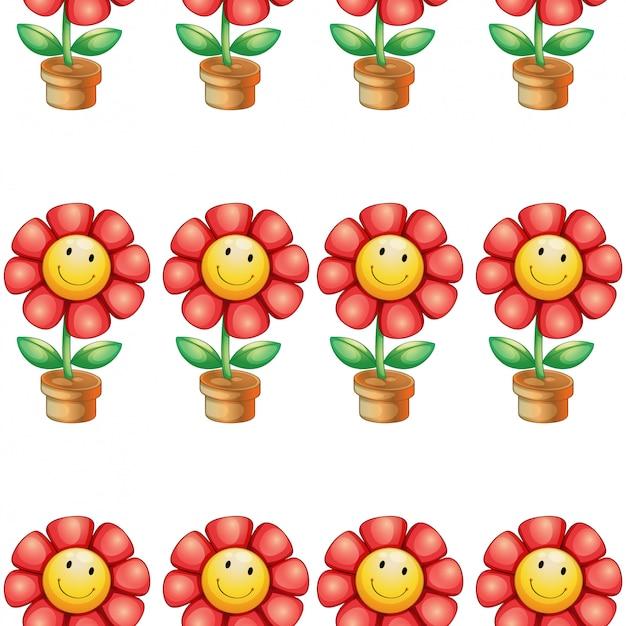 Het naadloze beeldverhaal van de patroontegel met stuk speelgoed bloempot Gratis Vector