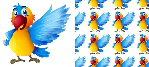 Het naadloze beeldverhaal van het papegaai dierlijke patroon Gratis Vector