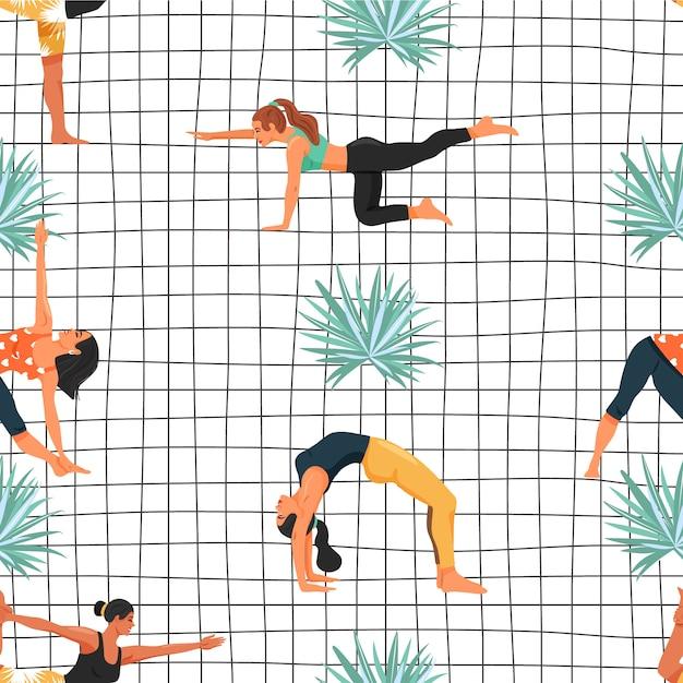 Het naadloze patroon met vrouwen in diverse yoga stelt en palmblad Premium Vector