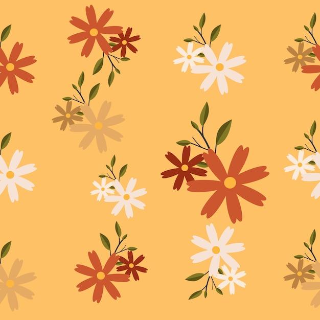 Het naadloze patroon van bloem en blad Premium Vector