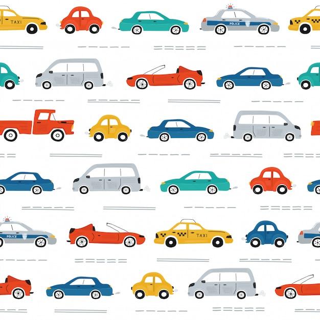 Het naadloze patroon van leuke kinderen met auto's, verkeerslichten en verkeerstekens op een witte achtergrond Premium Vector