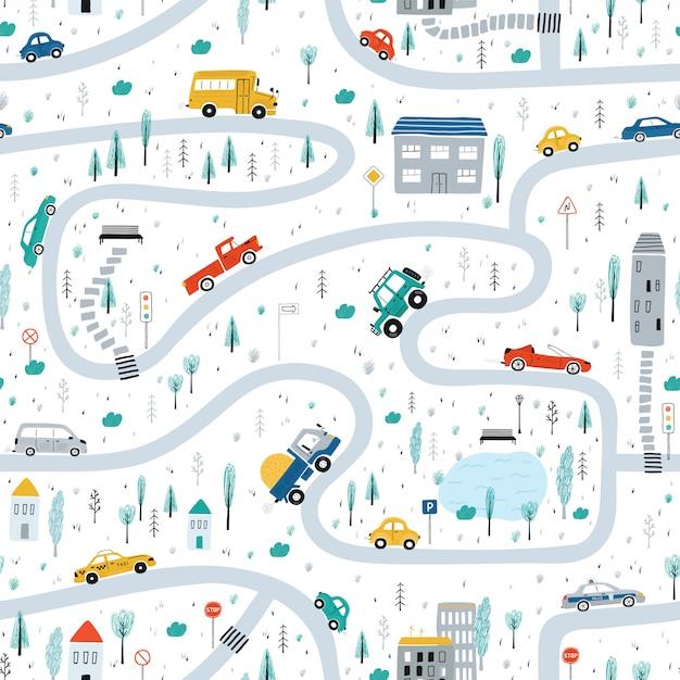 Het naadloze patroon van leuke kinderen met auto's, weg, park, huizen op een witte achtergrond. illustratie van een stad in een cartoon-stijl Premium Vector