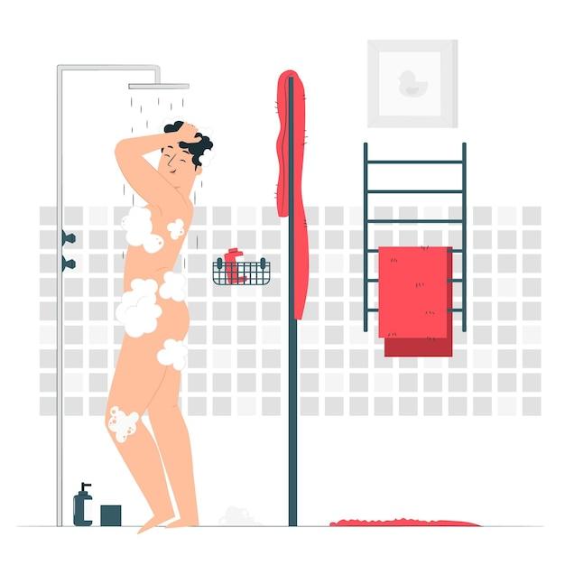Het nemen van een douche concept illustratie Gratis Vector