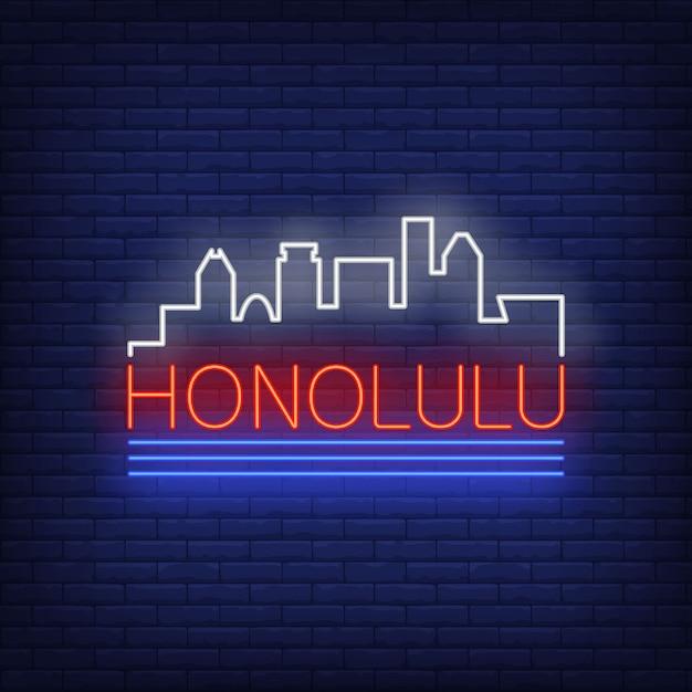 Het neon van letters voorzien van honolulu en het silhouet van stadsgebouwen. bezienswaardigheden, toerisme, reizen. Gratis Vector