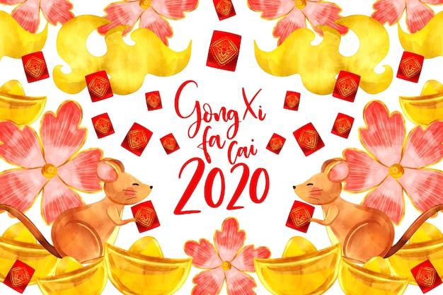 Het nieuwe chinese jaar van de waterverfstijl met bloemen Gratis Vector