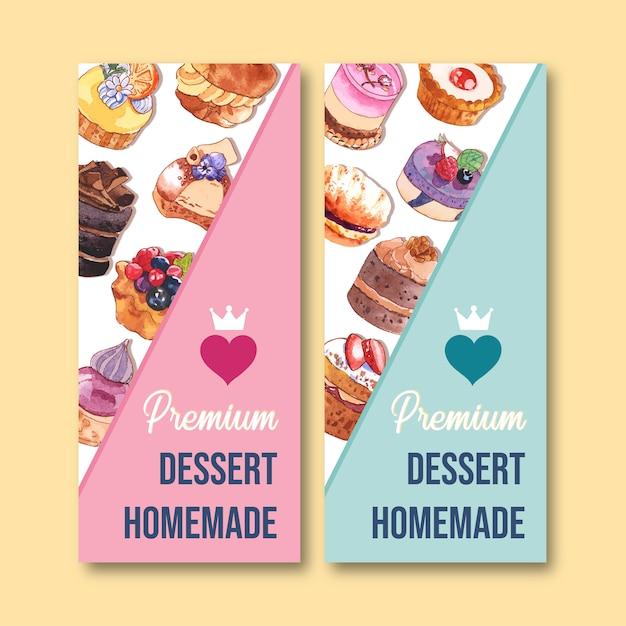 Het ontwerp van de dessertvlieger met cupcake, pasteiwaterverf, creatieve kleurrijke geïsoleerde illustratie. Gratis Vector