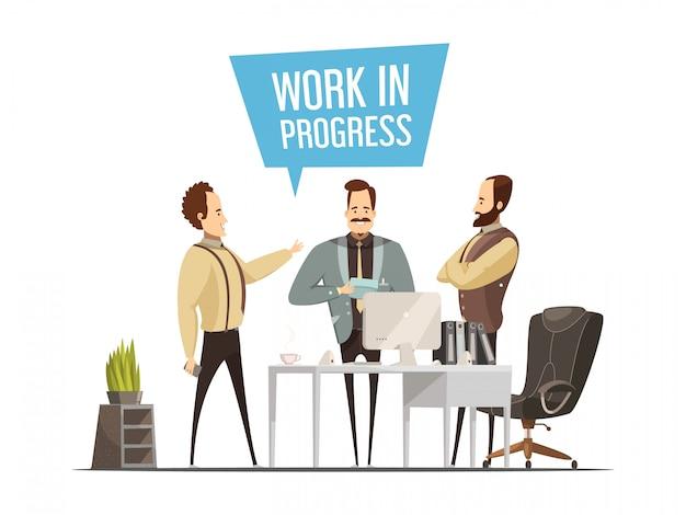 Het ontwerp van de het werkvergadering in beeldverhaalstijl met bevindende mannen rond bureaulijst tijdens communicatie vect Gratis Vector