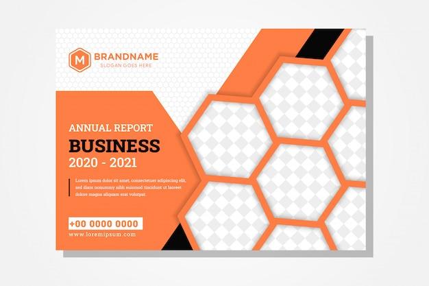 Het ontwerp van de jaarverslagboekomslag voor zakelijk gebruik horizontale lay-out en combinatie vier kleuren zijn oranje, zwart, grijs en zwart. zeshoekige vorm als ruimte voor fotocollage en patroon. Premium Vector