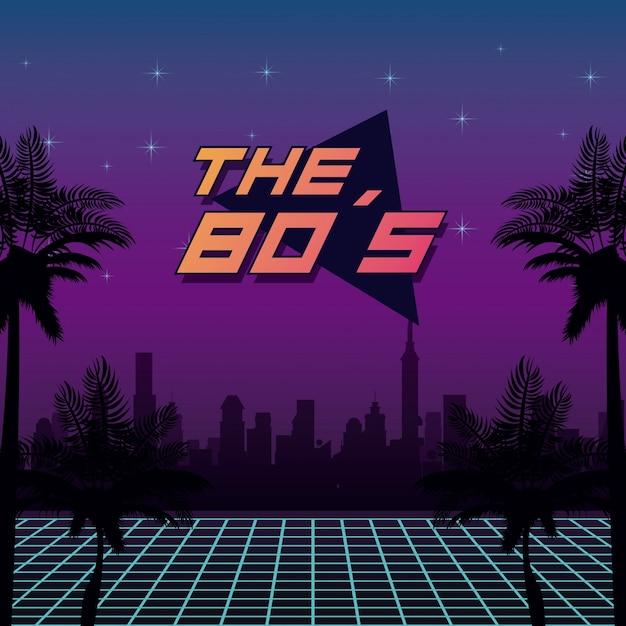 Het ontwerp van de jaren 80 Premium Vector