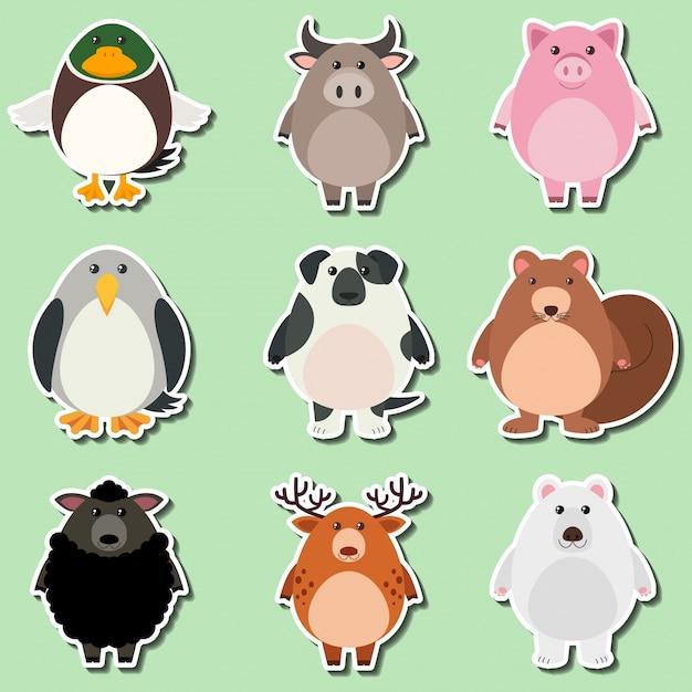 Het ontwerp van de sticker voor leuke dieren op groene achtergrond Gratis Vector