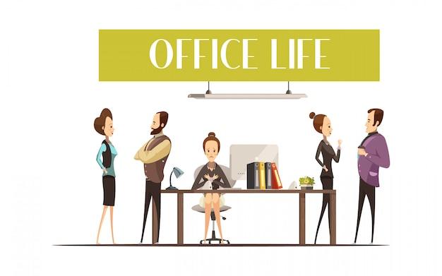 Het ontwerp van het bureauleven met verstoorde secretaresse op het werk Gratis Vector