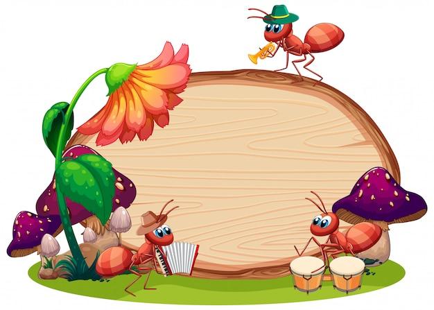 Het ontwerp van het grensmalplaatje met insecten op de tuinachtergrond Gratis Vector