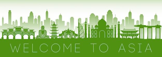 Het ontwerp van het het oriëntatiepunt groene silhouet van azië beroemde Premium Vector