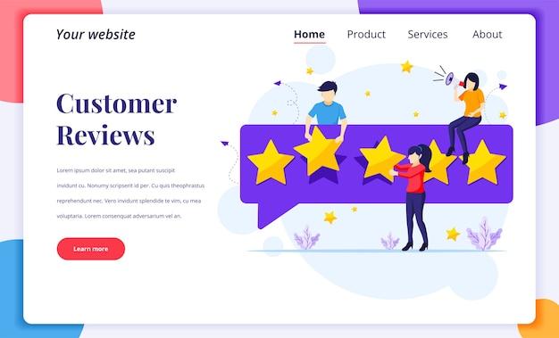 Het ontwerpconcept van de bestemmingspagina van klantrecensies, mensen die vijf sterren geven en beoordelen en positieve feedback geven Premium Vector