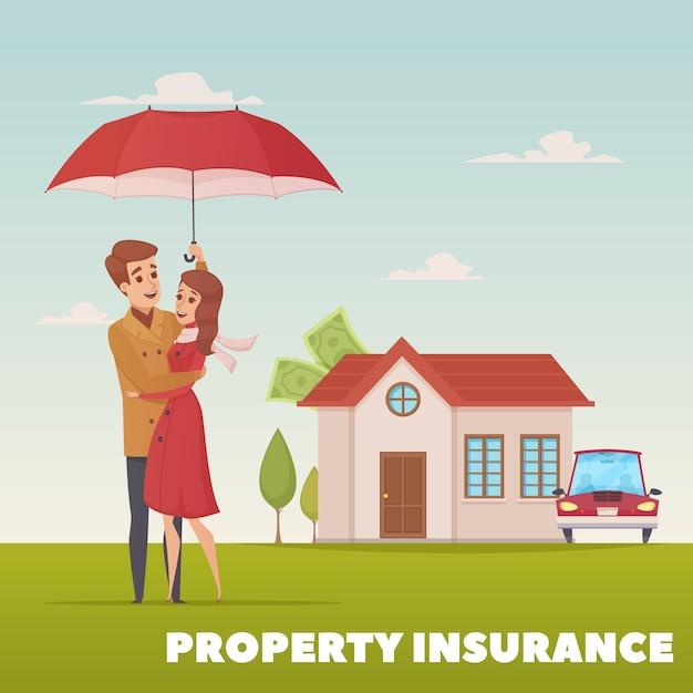 Het ontwerpconcept van de bezitsverzekering met jong familiepaar onder paraplu op achtergrond van huis en Gratis Vector