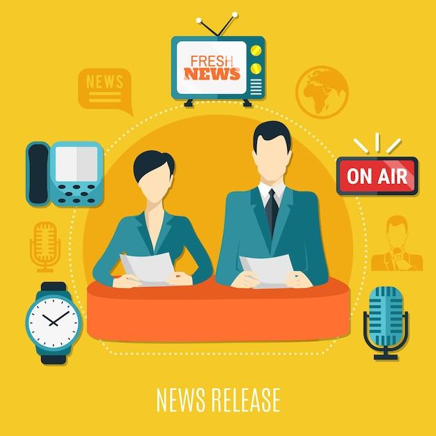 Het ontwerpsamenstelling van het nieuwsbericht met mannelijke en vrouwelijke televisieadviseurs die nieuws op lucht vlakke vectorillustratie lezen Gratis Vector