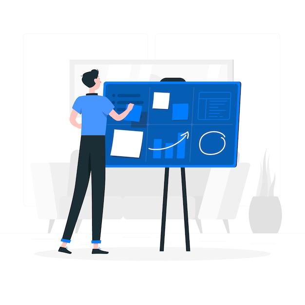 Het organiseren van projecten concept illustratie Gratis Vector