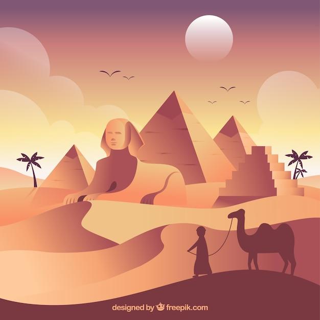 Het oude landschap van egypte met vlak ontwerp Gratis Vector