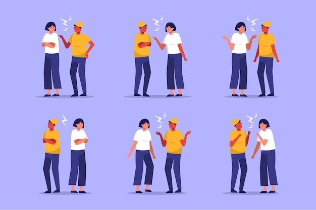 Het paar is illustratieinzameling strijdig Gratis Vector