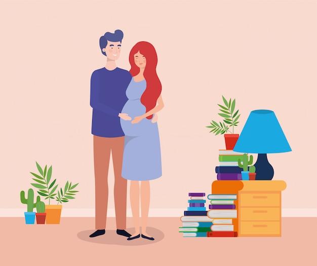 Het paar van de zwangerschap huisvest plaatsscène Gratis Vector