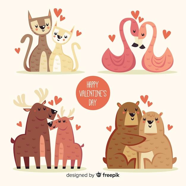 Het pak van de de dagillustratie van de leuke valentijnskaart Gratis Vector