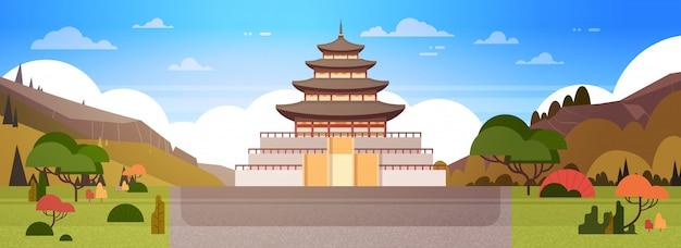 Het paleis van korea of de mening van de tempelmening aan traditioneel zuid-koreaans de bouw beroemd oriëntatiepuntoriëntatiepunt Premium Vector
