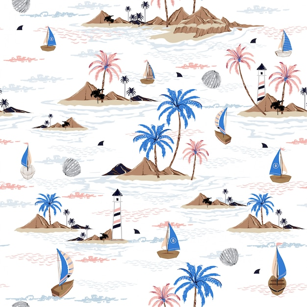 Het patroon oceaan vector van het de zomer naadloze eiland Premium Vector