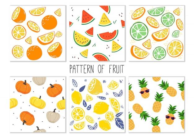 Het patroon van fruitreeks. Premium Vector