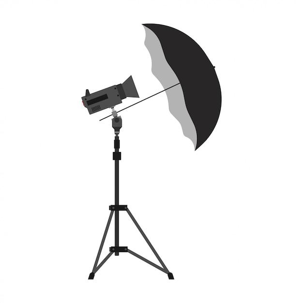 Het pictogram van de de paraplu vectorapparatuur van de fotografiecamera. digitale flits foto licht studio statief Premium Vector