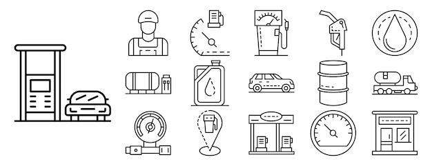 Het pictogramreeks van de benzinepost, overzichtsstijl Premium Vector