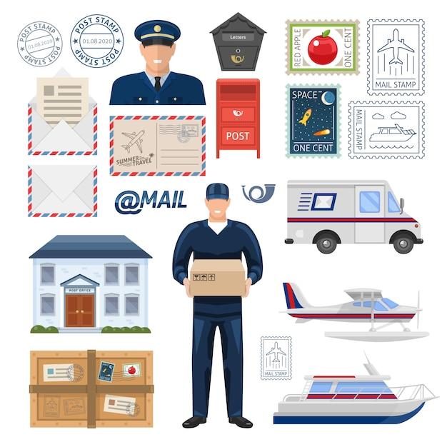Het postkantoor plaatste met werknemers die afdruk en postzegelsvervoerpakket bouwen en brieven isoleerden vectorillustratie Gratis Vector